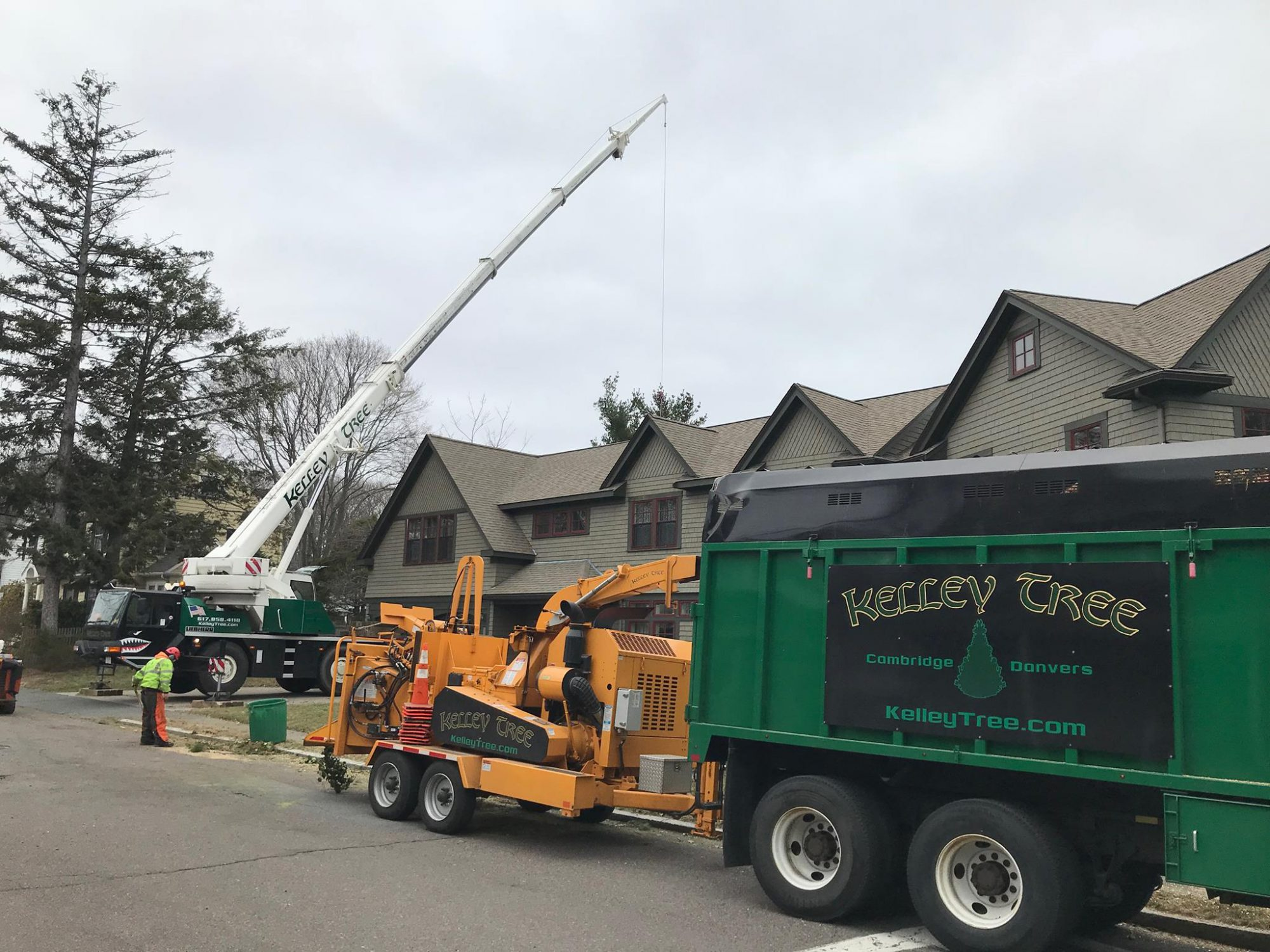 tree care equipment parked outside a home